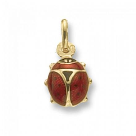 Yellow Gold Pendants -Lady Bird Enamelled Small, PN250